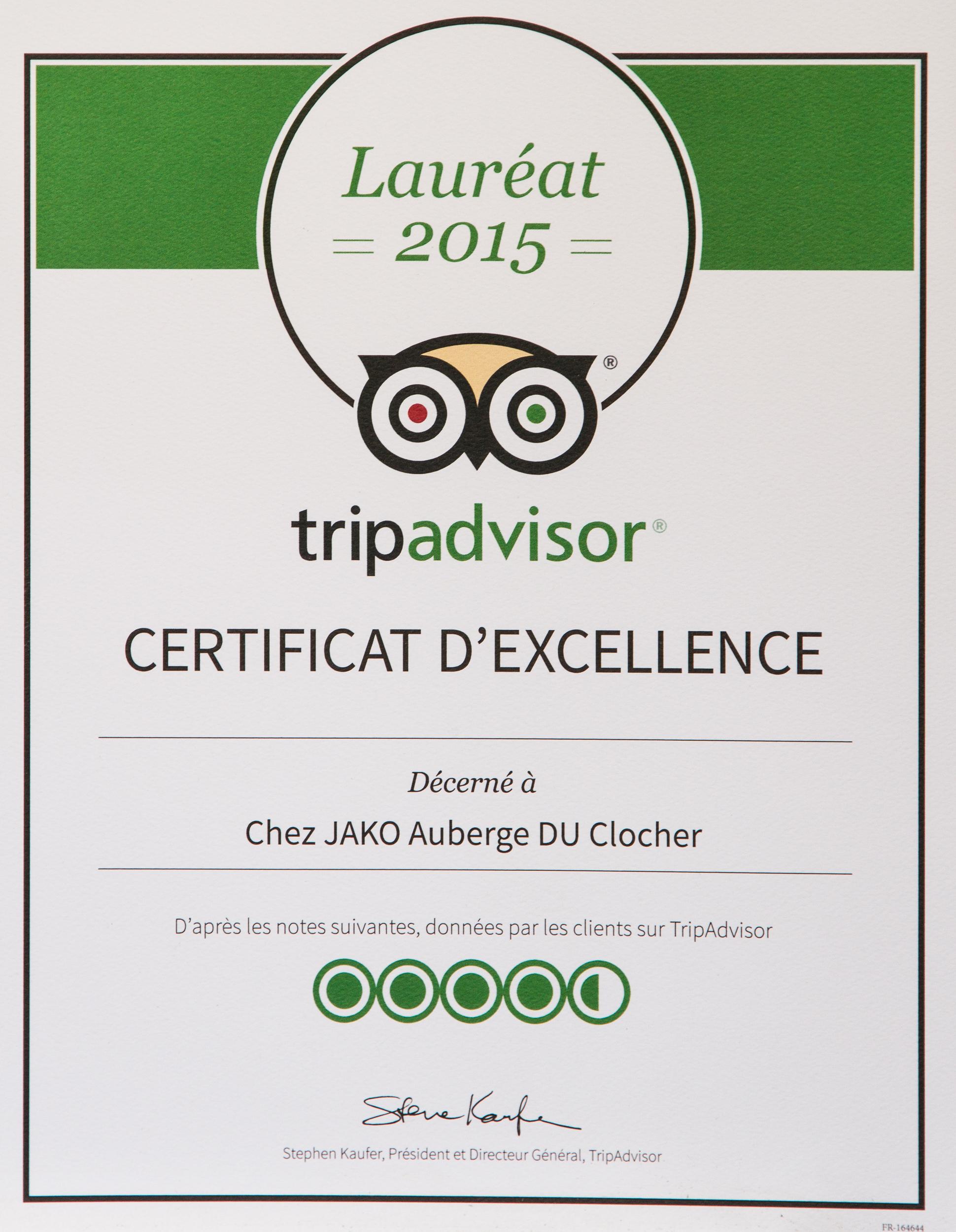 Certificat d'excellence !!
